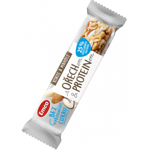 Emco tyčinka s ořechem a proteinem - kokos a mandle 35 g
