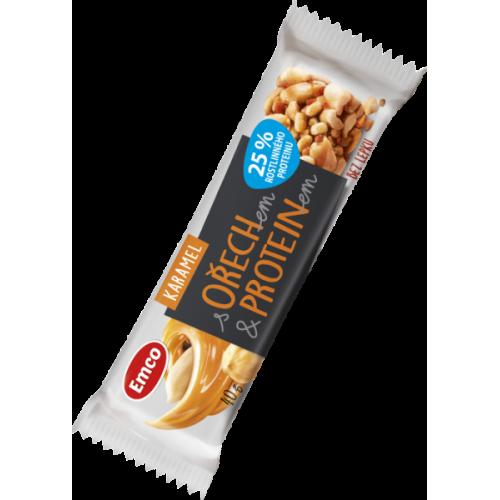 Emco tyčinka s ořechem a proteinem - karamel 40 g